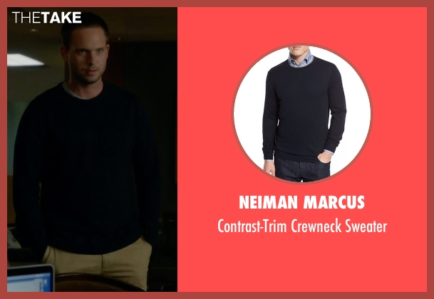 Neiman Marcus blue sweater from Suits seen with Mike Ross (Patrick J. Adams)