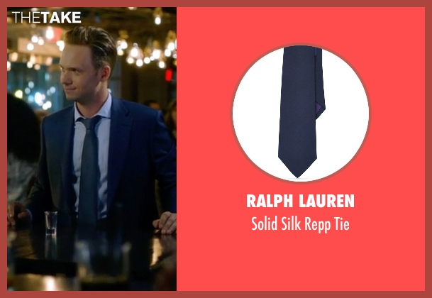 Ralph Lauren blue tie from Suits seen with Mike Ross (Patrick J. Adams)