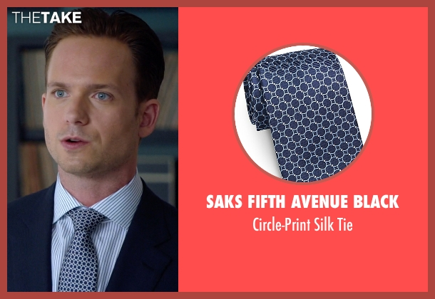 Saks Fifth Avenue Black blue tie from Suits seen with Mike Ross (Patrick J. Adams)