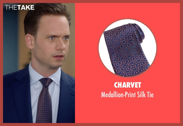 Charvet	 blue tie from Suits seen with Mike Ross (Patrick J. Adams)