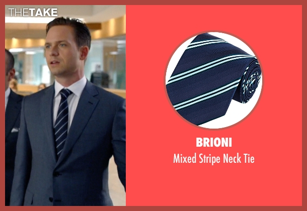 Brioni blue tie from Suits seen with Mike Ross (Patrick J. Adams)