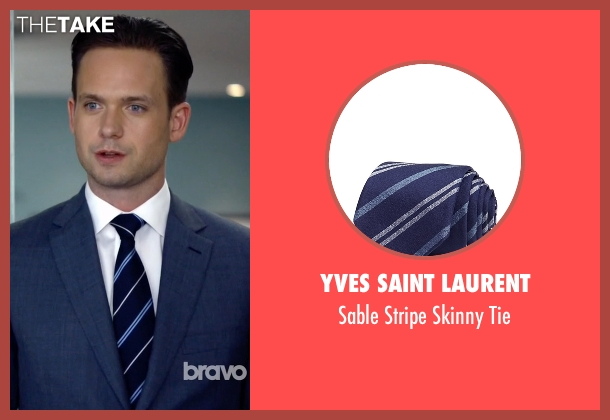 Yves Saint Laurent blue tie from Suits seen with Mike Ross (Patrick J. Adams)