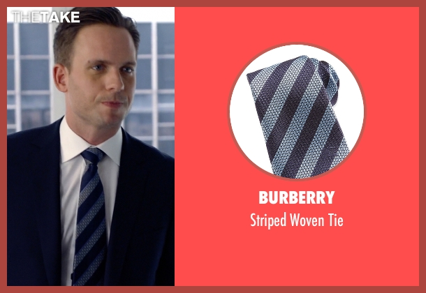 Burberry	 blue tie from Suits seen with Mike Ross (Patrick J. Adams)