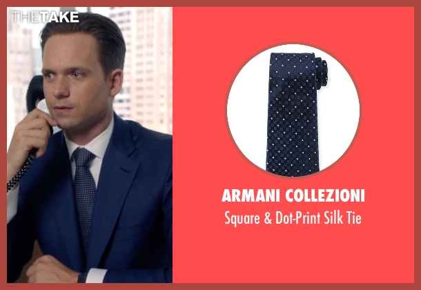 Armani Collezioni blue tie from Suits seen with Mike Ross (Patrick J. Adams)