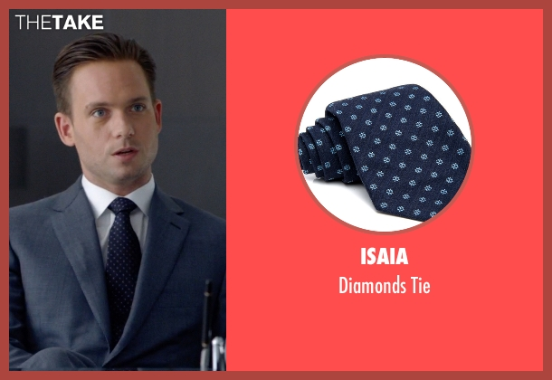 Isaia blue tie from Suits seen with Mike Ross (Patrick J. Adams)
