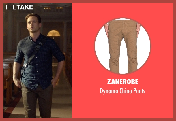 Zanerobe brown pants from Suits seen with Mike Ross (Patrick J. Adams)