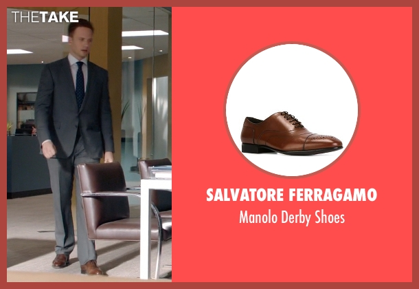 Salvatore Ferragamo brown shoes from Suits seen with Mike Ross (Patrick J. Adams)