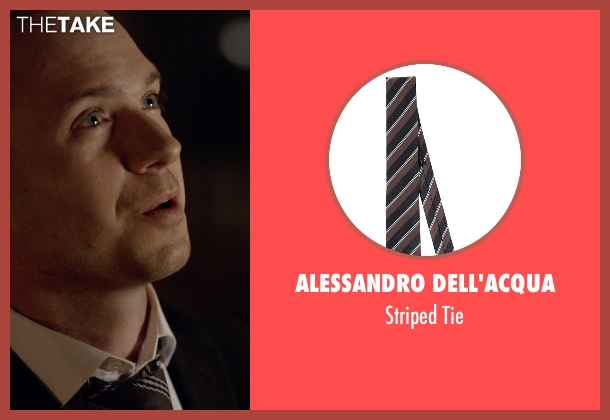 Alessandro Dell'acqua brown tie from Suits seen with Mike Ross (Patrick J. Adams)