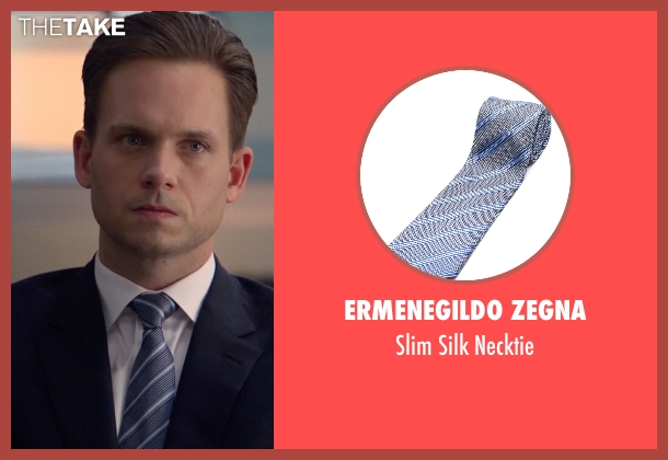 Ermenegildo Zegna gray necktie from Suits seen with Mike Ross (Patrick J. Adams)
