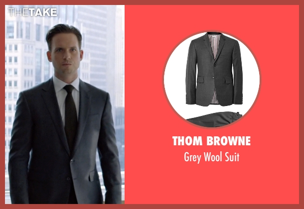 Thom Browne gray suit from Suits seen with Mike Ross (Patrick J. Adams)