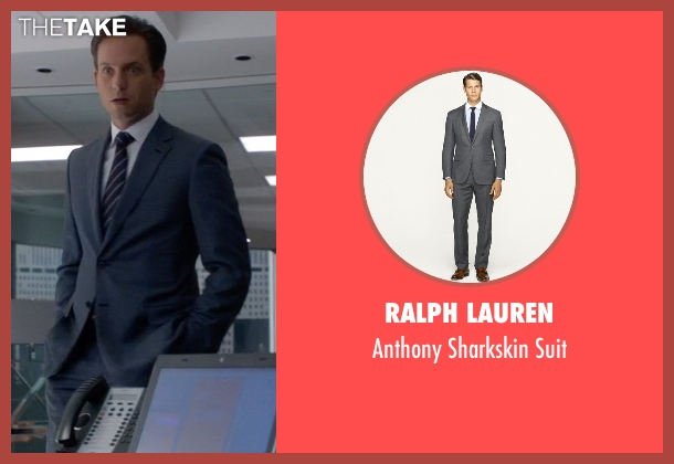 Ralph Lauren gray suit from Suits seen with Mike Ross (Patrick J. Adams)
