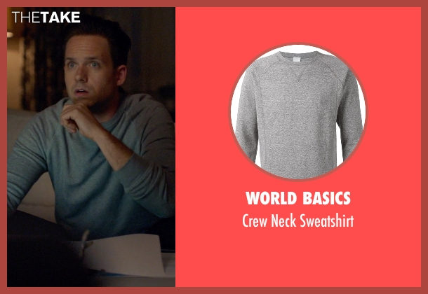 World Basics gray sweatshirt from Suits seen with Mike Ross (Patrick J. Adams)
