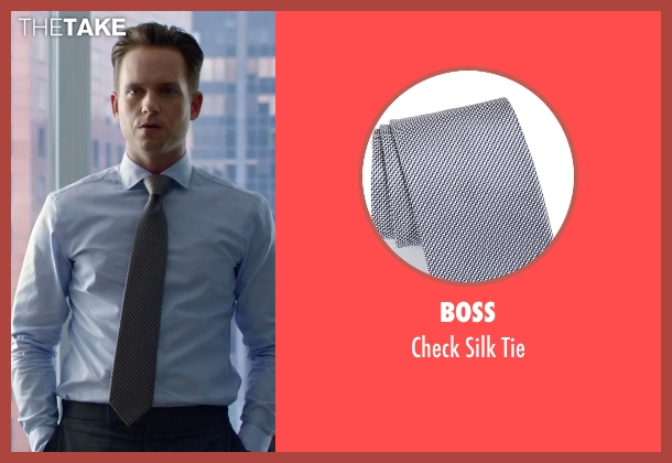 Boss gray tie from Suits seen with Mike Ross (Patrick J. Adams)