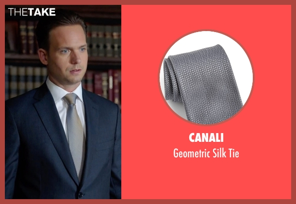Canali gray tie from Suits seen with Mike Ross (Patrick J. Adams)