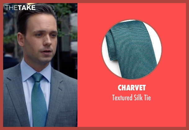 Charvet green tie from Suits seen with Mike Ross (Patrick J. Adams)