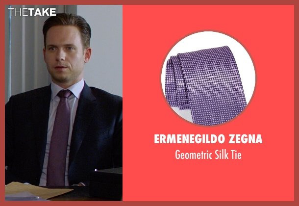 Ermenegildo Zegna purple tie from Suits seen with Mike Ross (Patrick J. Adams)