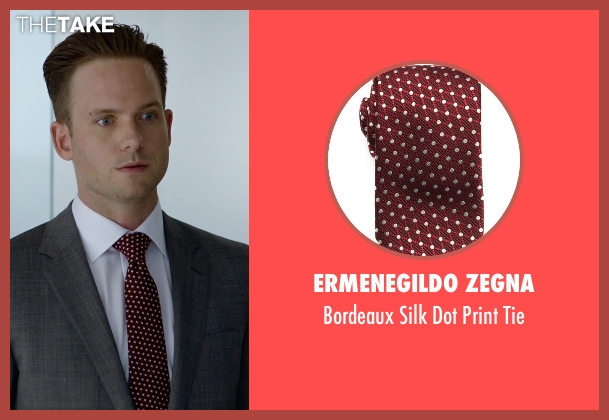Ermenegildo Zegna red tie from Suits seen with Mike Ross (Patrick J. Adams)