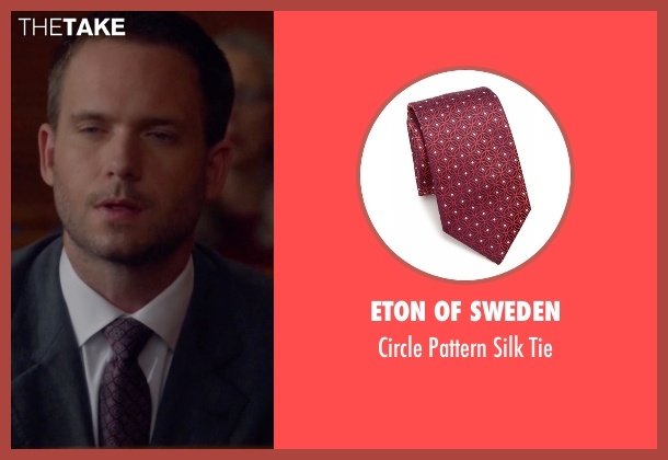Eton of Sweden red tie from Suits seen with Mike Ross (Patrick J. Adams)