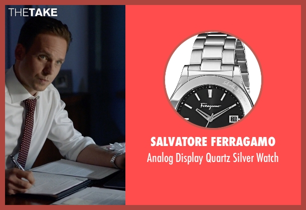 Salvatore Ferragamo silver watch from Suits seen with Mike Ross (Patrick J. Adams)