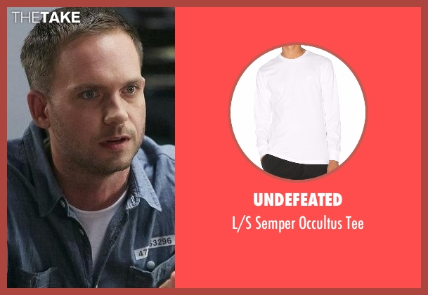 Undefeated white tee from Suits seen with Mike Ross (Patrick J. Adams)