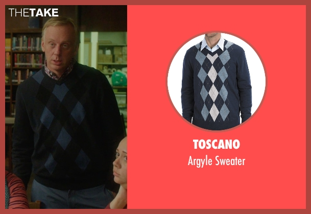 Toscano blue sweater from The D Train seen with Mike White (Jerry)
