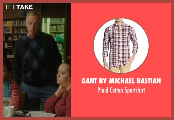 Gant By Michael Bastian red sportshirt from The D Train seen with Mike White (Jerry)