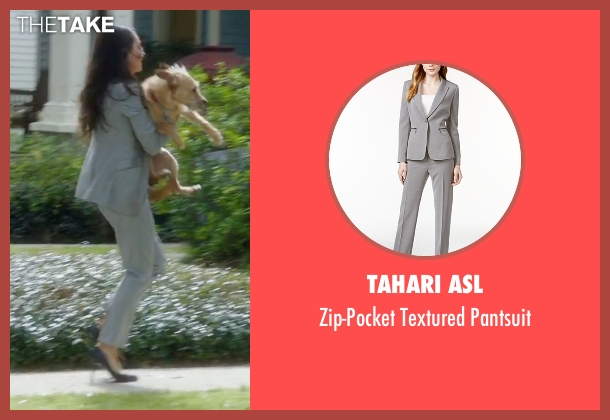 Tahari ASL gray pantsuit from Bad Moms seen with Mila Kunis (Amy Mitchell)