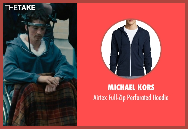 Michael Kors blue hoodie from Bleed for This seen with Miles Teller (Vinny Pazienza)