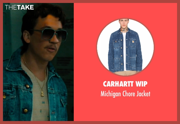 Carhartt WIP blue jacket from Bleed for This seen with Miles Teller (Vinny Pazienza)