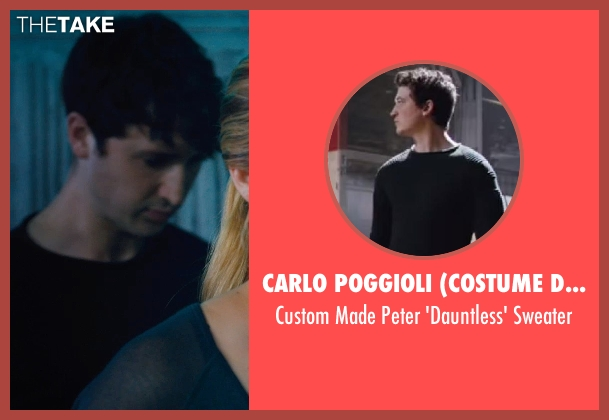 Carlo Poggioli (Costume Designer) black sweater from Divergent seen with Miles Teller (Peter)