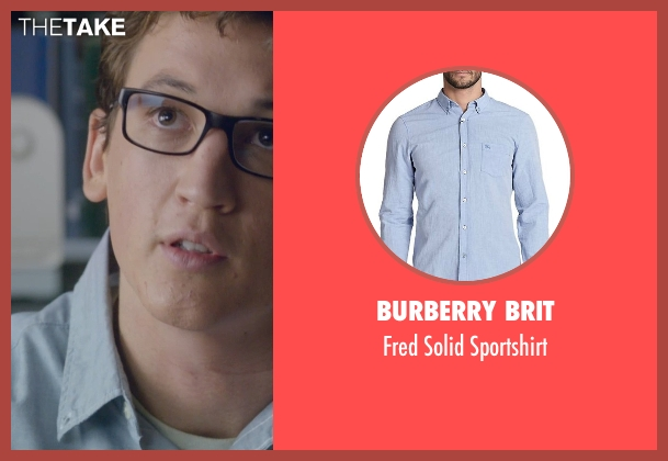 Burberry Brit blue sportshirt from Fantastic Four seen with Miles Teller (Reed Richards / Mr. Fantastic)