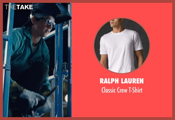 Ralph Lauren white t-shirt from Fantastic Four seen with Miles Teller (Reed Richards / Mr. Fantastic)