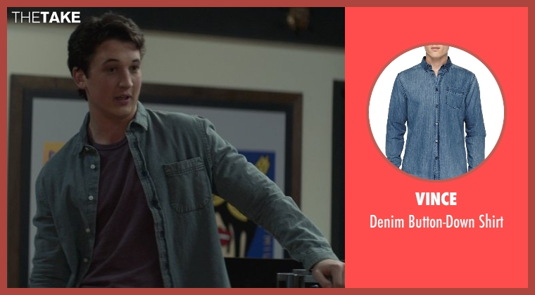 Vince blue shirt from That Awkward Moment seen with Miles Teller (Daniel)