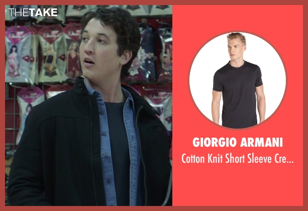 Giorgio Armani blue t-shirt from That Awkward Moment seen with Miles Teller (Daniel)