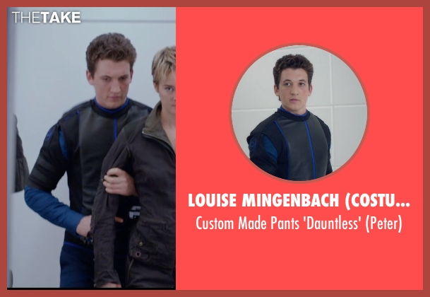 Louise Mingenbach (Costume Designer) blue 'dauntless' from The Divergent Series: Insurgent seen with Miles Teller (Peter)
