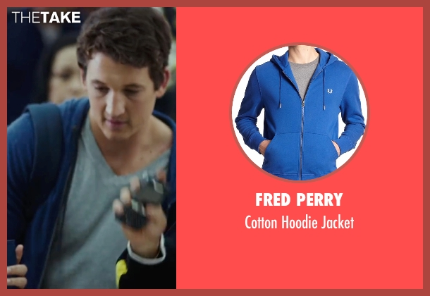 Fred Perry blue jacket from War Dogs seen with Miles Teller (David Packouz)