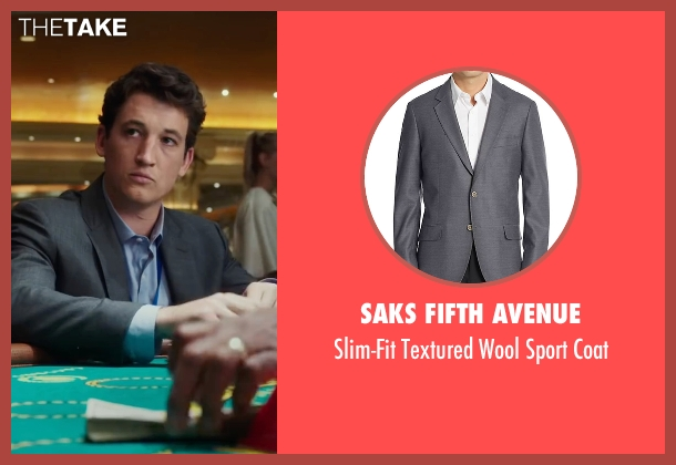 Saks Fifth Avenue gray coat from War Dogs seen with Miles Teller (David Packouz)