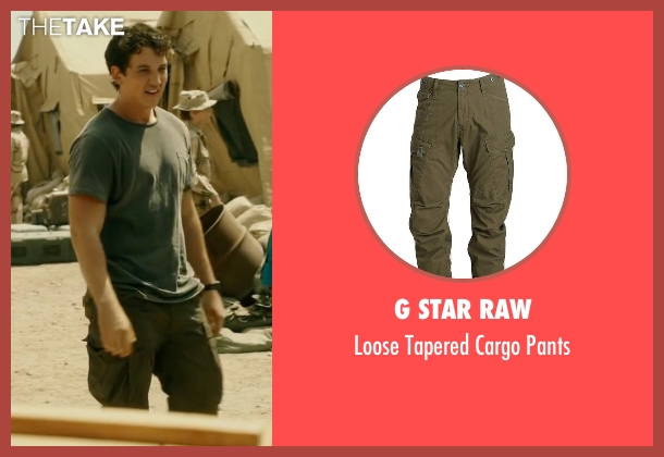 G Star Raw green pants from War Dogs seen with Miles Teller (David Packouz)