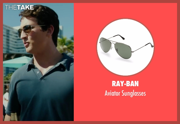 Ray-Ban silver sunglasses from War Dogs seen with Miles Teller (David Packouz)