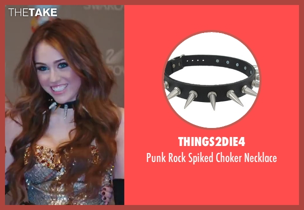 Things2Die4 black necklace from Sex and the City 2 seen with Miley Cyrus