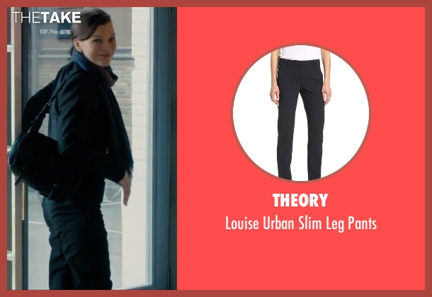 Theory black pants from Survivor seen with Milla Jovovich (Kate Abbott)