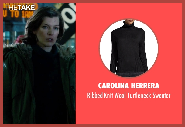 Carolina Herrera black sweater from Survivor seen with Milla Jovovich (Kate Abbott)
