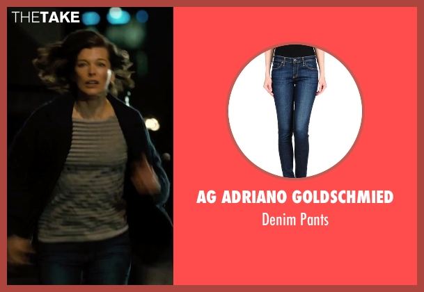 AG Adriano Goldschmied blue pants from Survivor seen with Milla Jovovich (Kate Abbott)