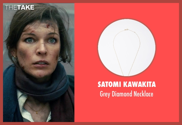 Satomi Kawakita gold necklace from Survivor seen with Milla Jovovich (Kate Abbott)