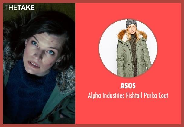 Asos green coat from Survivor seen with Milla Jovovich (Kate Abbott)