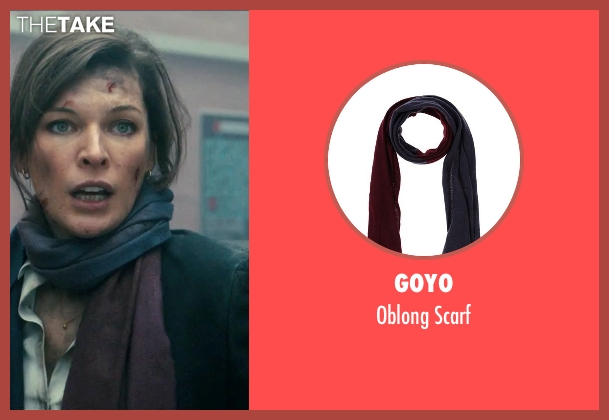 Goyo purple scarf from Survivor seen with Milla Jovovich (Kate Abbott)