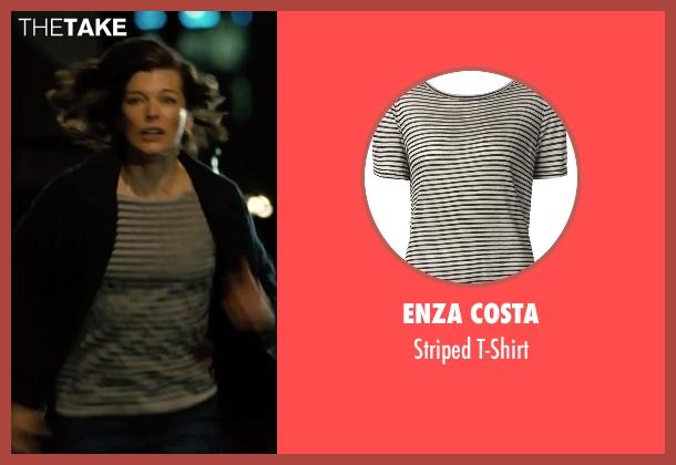 Enza Costa white t-shirt from Survivor seen with Milla Jovovich (Kate Abbott)