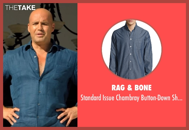 Rag & Bone blue shirt from Mad Dogs seen with Milo (Billy Zane)