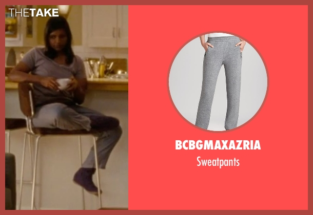 BCBGMAXAZRIA gray sweatpants from No Strings Attached seen with Mindy Kaling (Shira)
