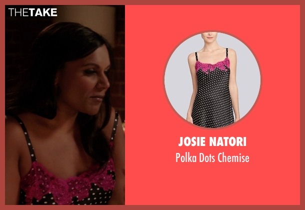 Josie Natori black chemise from The Mindy Project seen with Mindy Lahiri (Mindy Kaling)